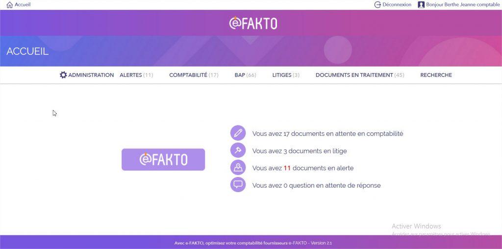 E-FAKTO : Ecran d'accueil